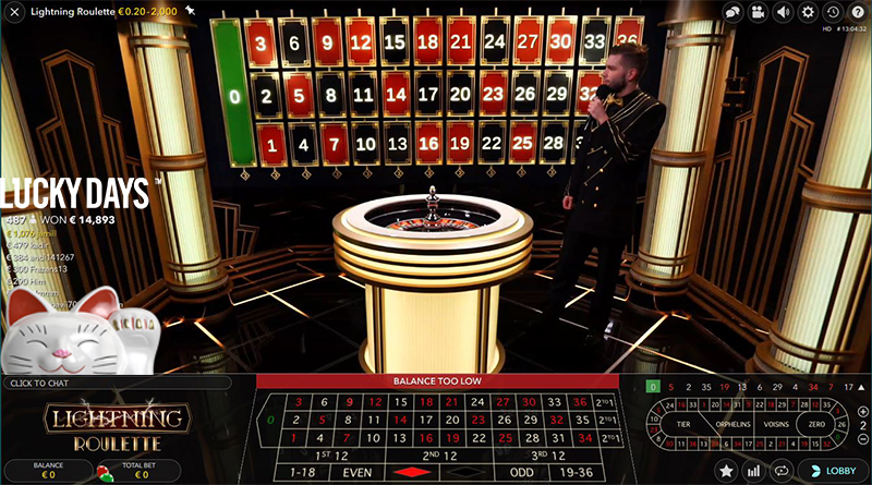 Live Lightning Roulette LuckyDays Casino